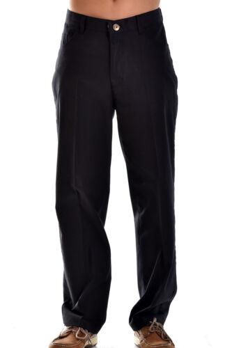Mens Bohio Black Cotton Spandex Flat Front Jean Style Pants 30 ~ 42 MCP851
