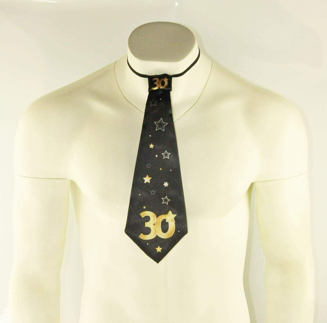 1x Negro 30th Feliz Cumpleaños Corbata Corbata Vestido De Fantasía Gracioso vestir Lazos Estrellas