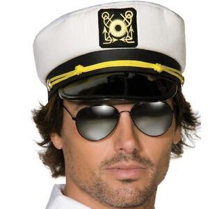 Hommes-Capitaine-Marin-Chapeau-Deguisement-Casquette-Capitaine-Blanc