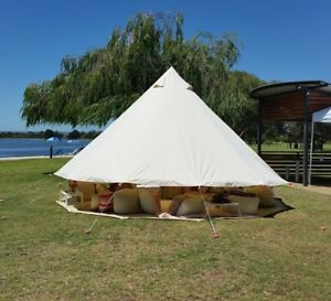 Image is loading 6M-Luxury-Bell-Tent-Zipper-Ground-Canvas-Waterproof- & 6M Luxury Bell Tent Zipper-Ground Canvas Waterproof Glamping Safari ...