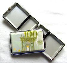 Zigarettenetui 100 Euro Metall 12 Zigaretten Banknote Geldschein Euros