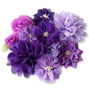 PURPLE-Fabric-Flowers-CRAFT-Glue-Sew-On-Embellishment-Appliques-Garment-Hair-DIY