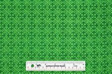 Celtic Medallions St. Patrick's Day Irish Green Cotton Fabric BTY (E) +