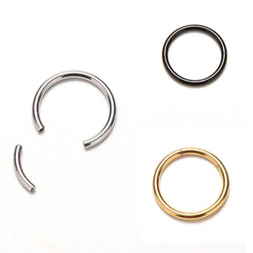 Titanium Seamless Segment Clicker Septum Lip Ear Nose Ring Piercing Hoop@