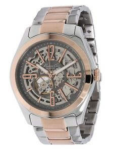 kenneth cole silver amp rose gold stainless automatic skeleton image is loading kenneth cole silver amp rose gold stainless automatic