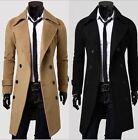 Men Wool Coat Winter Double Breasted Peacoat Trench Overcoat Long Jacket Outwear