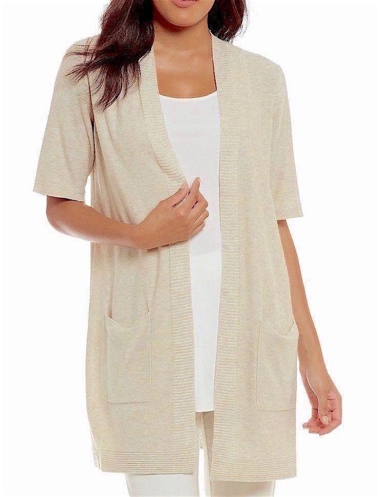 Eileen Fisher 1X Sleek Tencel Merino Knit Simple Cardigan Maple Oat NWT  New