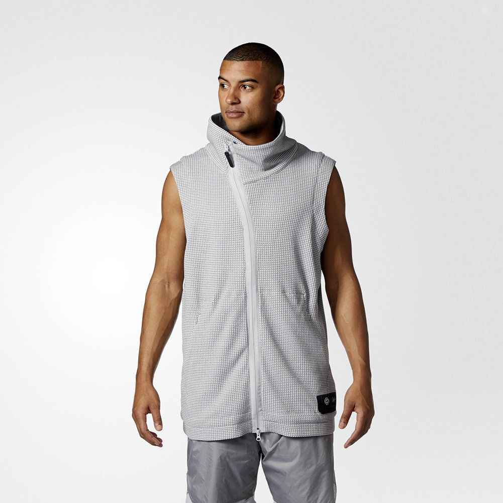 4ee67986932372 Details about NWT MENS ADIDAS HARDEN SLEEVELESS JACKET  90 M grey heather  s l basketball