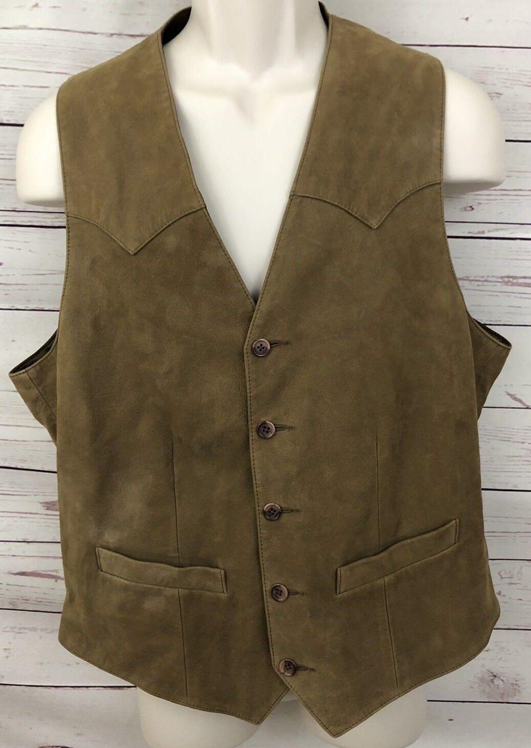 Vintage Scully Wah Maker Cowboy Western Soft Braun Leder Vest  Herren 42 A23