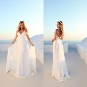 New-A-Line-V-Neck-Lace-Wedding-Dress-Backless-Beach-Boho-White-Bridal-Gown