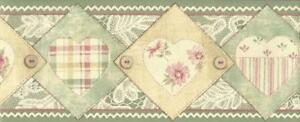 Wallpaper-Border-Green-Pink-Red-Cream-Beige-Quilted-Hearts-Buttons-Lace-Patches