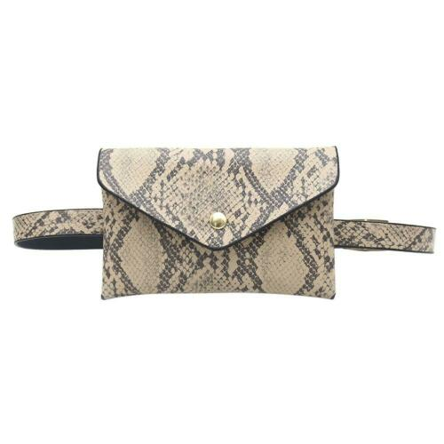 Women Ladies Waist Fanny Packs Snake Print Shoulder PU Leather Chest Bags Purse