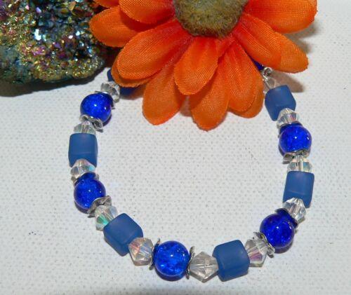 Armband Würfel Cube Glas Perlen crash blau dunkelblau silber 018a