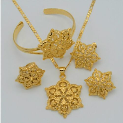 Flower Wedding Earrings Set 22K Gold Plated Necklace Bracelet African Arabic