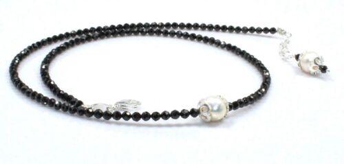 """Noir Spinelle /& Collier de perles argent sterling 3 mm 18/"""" perles bijoux anniversaire"""