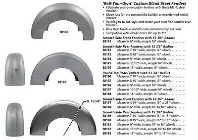 "7.25"" WIDE STEEL FENDER BLANK  13 3/8 Radius for 16-18"" Wheel - Round Top"
