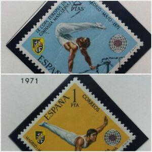 2-X-Timbre-Stamp-Espagne-Spain-Espana-1971-YT-1689-1690-Obliteres-Gimnasia