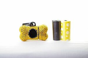 Gold-Crystal-Rhinestone-Bone-shaped-Waste-Bag-Dispenser