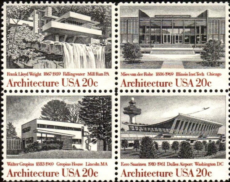 1982 20c Architecture, Block of 4 Scott 2019-22 Mint F/