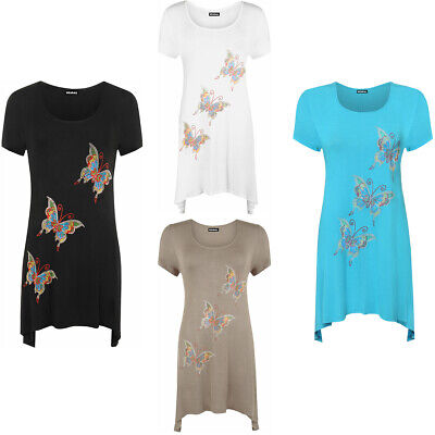 New Ladies Short Sleeves Butterfly Sequin Stud Long Swing Women/'s Hanky Hem Tops