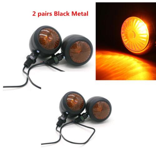 2 pairs Black Metal Motorcycle Turn Signal Indicator Light Lamp Bulb