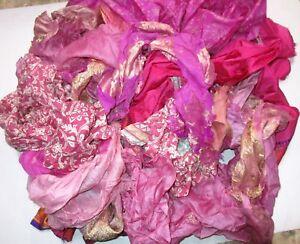 LOT-PURE-SILK-Antique-Vintage-Sari-REMNANT-Fabrics-100-GRAMS-CRAFT-DOLL-QUILT-30