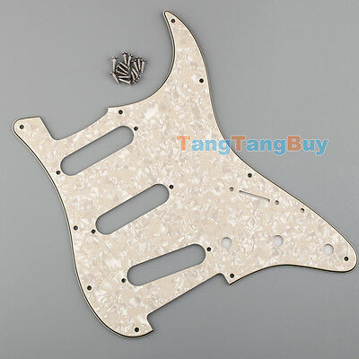 1× Aged Cream Pearl 3Ply Guitar Pickguard Plate SSS for SSS Fender Stratocaster