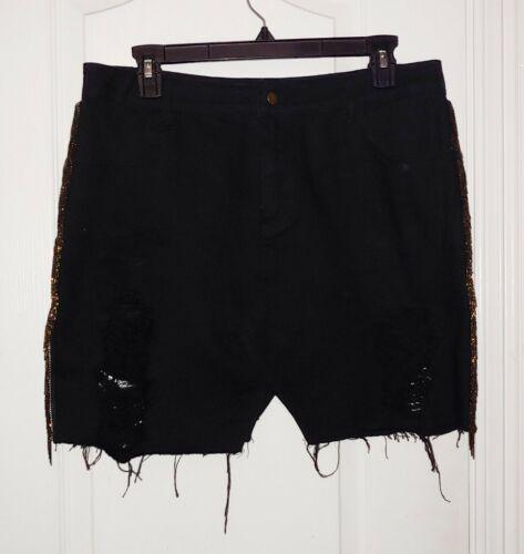 Honey Punch Black Distressed Embellished Skirt Siz