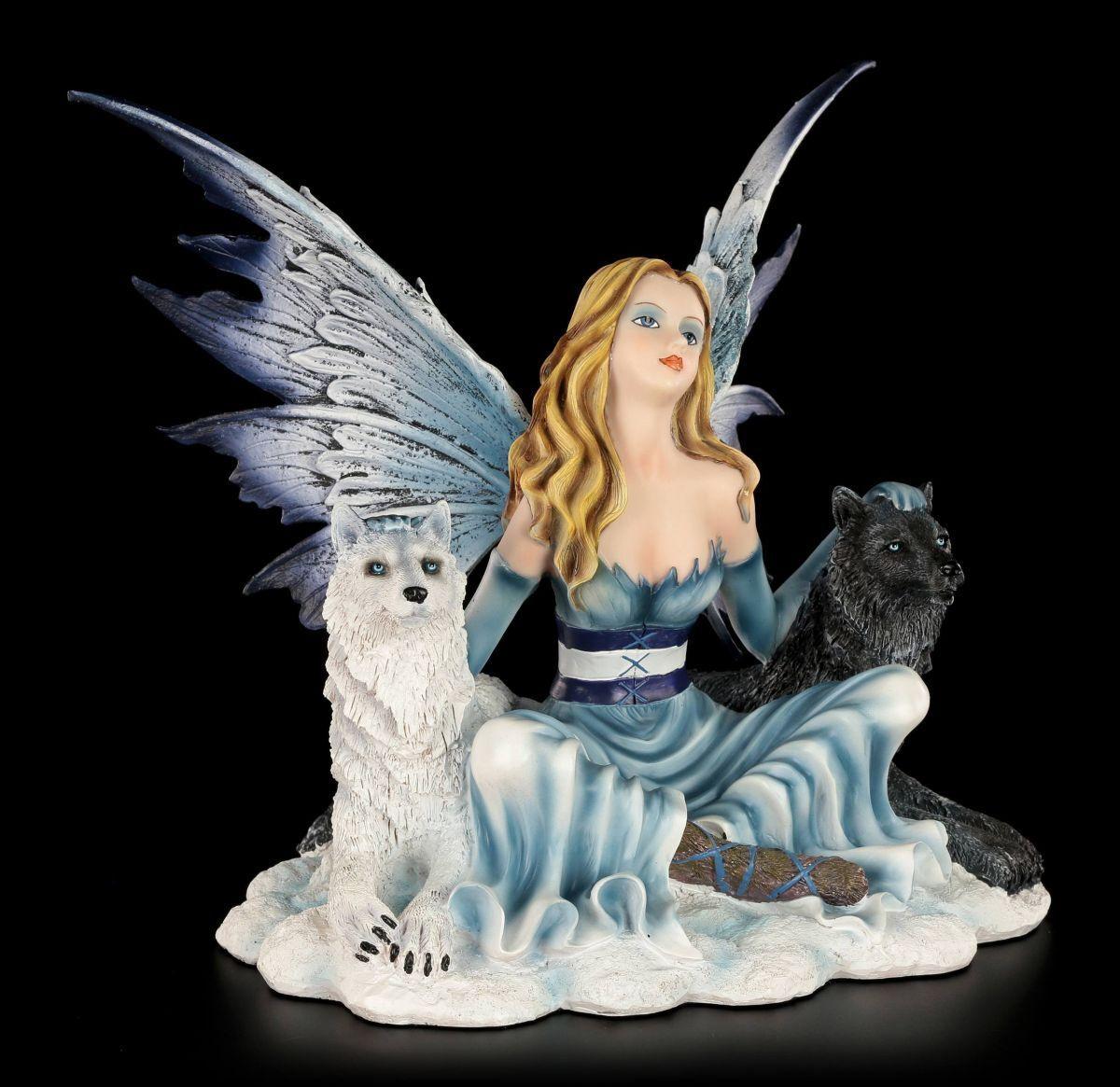 Figura Elfos - ilais con schwarz y Weiß lobo - FANTASÍA HADAS Ángel de la Guarda