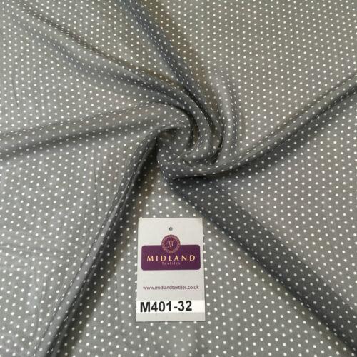 """Gris et blanc petits pointillés lumière mousseline imprimé tissu 58/"""" M401-32 Mtex"""