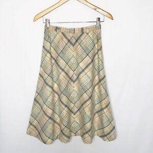 VTG-John-Meyer-Wool-Plaid-Skirt-Midi-Length-Size-Small-6-A-line-Pastel-Pink