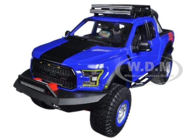 2017 Ford F-150 Raptor Blue off Road Kings 1/24 Model by Maisto 32521