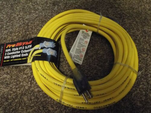 3 Conductor Extension Cord w// Light up Ends Century 50ft #12 SJTW