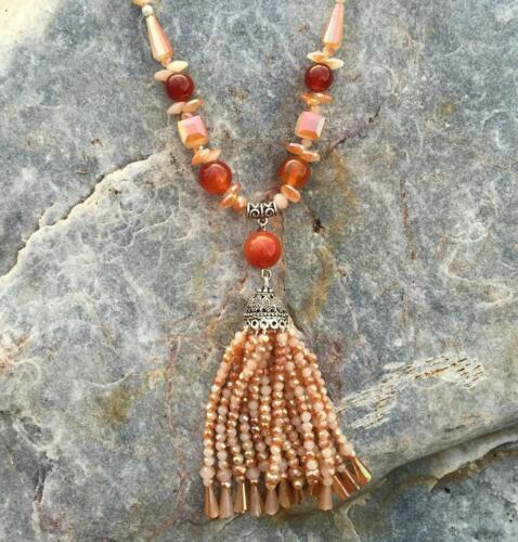 Sunset Burnt Orange and Cream Beaded Crystal /& Rhinestones Tassel Necklace