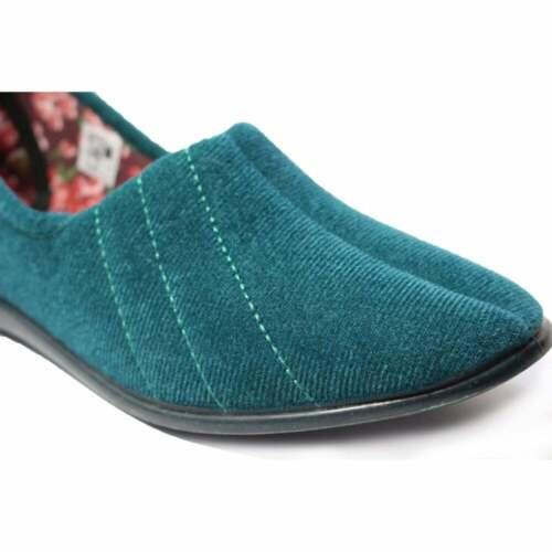 GBS Audrey Ocean Green Velour Womens Slip On Full Shoe Slippers