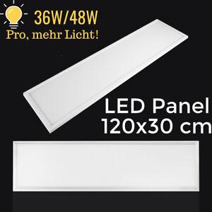 Mehr-Licht-LED-Panel-120x30cm-36W-48W-Deckenleuchte-Rasterleuchte-20-Lumen