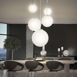 Haute-Qualite-Plafonnier-Luminaire-suspendu-chrome-billes-de-verre-blanc-80-cm