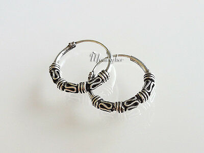 Pair of 925 Real Silver Earrings Black Oxidized Bali Coil Curl Round Hoops Style