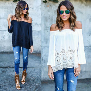 Fashion-Women-Summer-Cotton-Blended-Blouse-Off-Shoulder-Loose-Casual-T-Shirt-Top