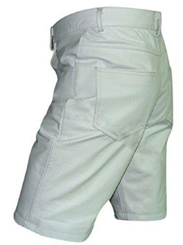Herren Lange Shorts Weißes Leder