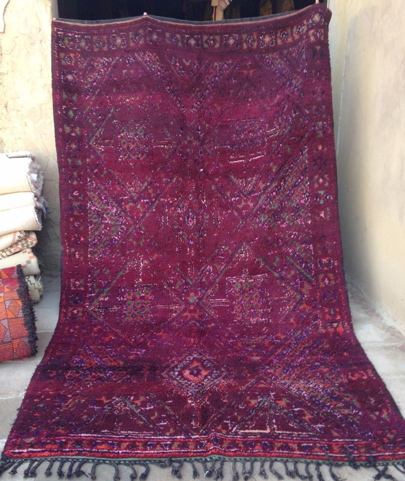 Púrpura Vintage marroquí Beni mguild Tribal Alfombra 350 X 200cm