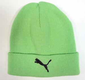 Puma Cat Logo Green Cuff Knit Beanie Skull Cap Youth Boys 8-20 NWT ... 55fbc41d4af9
