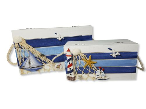 Wooden box Wooden Trinket Box Storage set of 2 Nautical Home Decoration