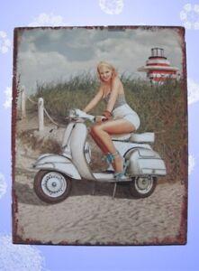 Wandschild-Eisen-Heinkel-Vespa-Scooter-H-25x20cm-Vintage-Geschenk-Wand-Deko