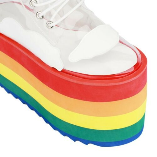 Womens New Transparent Lace Up Rainbow Platform Combat Boots Shoes Creepers AASM