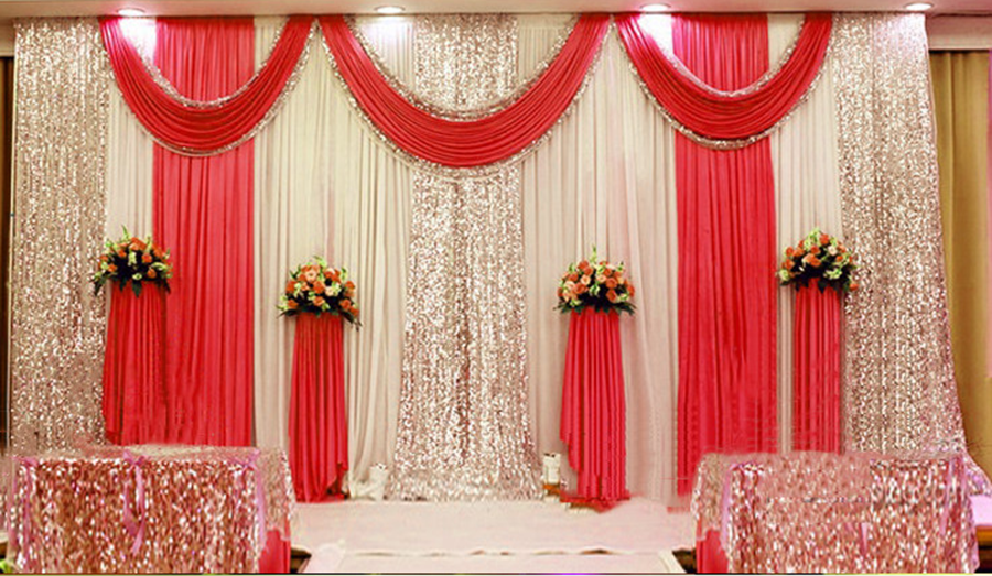 3X3M Wedding Stage backdrop party drapes with swag silk fabric curtain 003