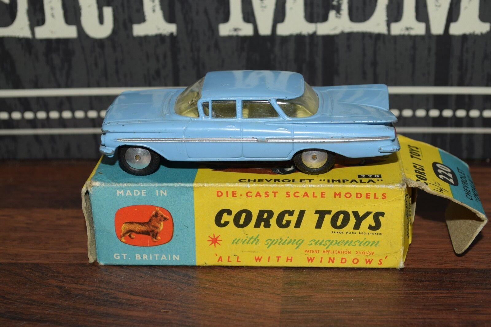 Corgi 220 Chevrolet Impala blå låda - Ex årgång Original tärningskast Old RARE USA