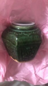 Antique-1800S-CHINESE-Hexagonal-Green-Glazed-Ginger-Jar-Goldfields-IMPECCABLE