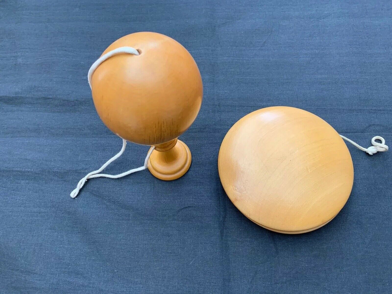 Vintage French wooden Bilboquet Cup and Spike, turned wood, Plus A Giant Yo-yo