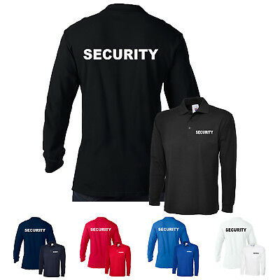 SECURITY Long Sleeve Men/'s Polo Shirt event bouncer staff Black and Navy Color